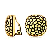 LILIE&WHITE Textured Clip On Earrings for Women in Antique Gold Lightweight Geometric Studs Earrings for Women Hypoallergenic Earrings for Girls Jewelry Gift