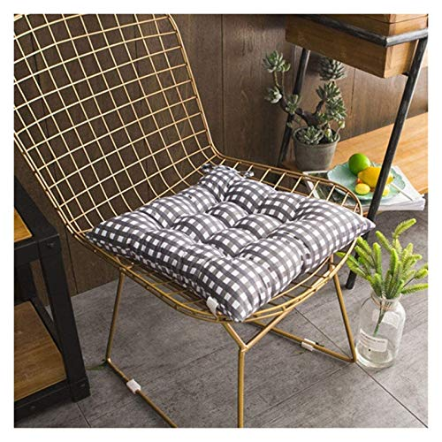 Seat Pads Chair Pads Booster Cushion Cotton Cushion Bench Cushion Chair Cushion,latticeThicken Brushed With Tie 4 X Padded Cushion Chair Seat Pads With Ties - 9-pin Fixed Design - Square Garden cushio