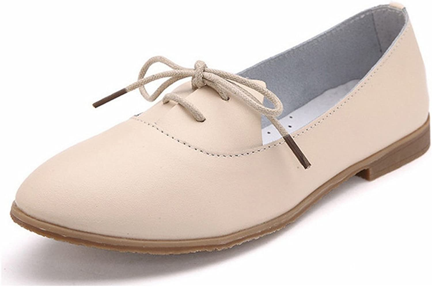 York Zhu Women Oxford shoes, Lace-Up Pointed Toe Flats shoes Ladies Loafers Beige