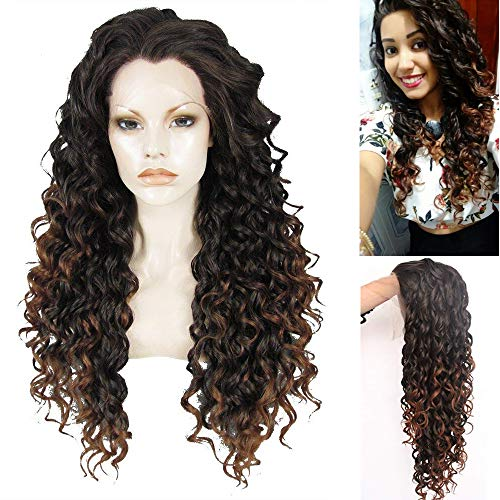 Ebingoo Black Brown Mix Lace Front Wig for Women Long Kinky Curly Wave Synthetic Soft Wig Free Part Glueless Heat Resistant Fiber