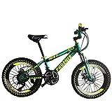 Bicicletas Triciclos Pedal For Niños Seguridad For Niños Al Aire Libre Parque Coche De Velocidad Ajustable For Estudiantes (Color : Green, Size : 20inch)
