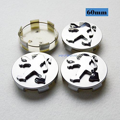 Hanway 4pcs 60mm Car Styling Accessories PEUGEOT Emblem Badge Sticker Wheel Hub Caps Centre Cover PEUGEOT 206 207 307 301 308 408 508 3008