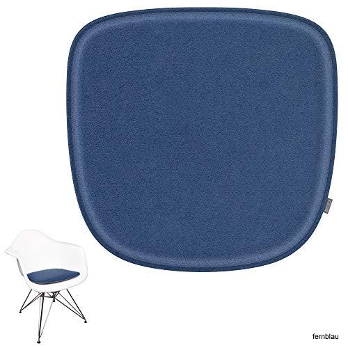 noe Eco Filz Sitzkissen geeignet für Vitra Eames Armchair - DAW,DAR,RAR,DAX,DAL,Rocker - 29 Farben - optional inkl. Antirutsch und gepolstert (Oberseite - fernblau)