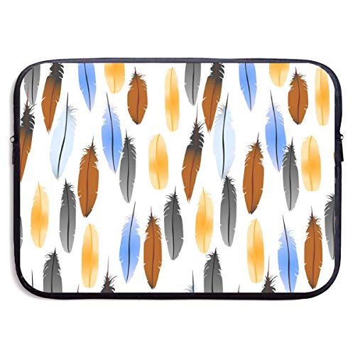 Colorful Feathers 15 Inch Laptop Sleeve Bag Portable Zipper Laptop Bag Tablet Bag,Water Resistant