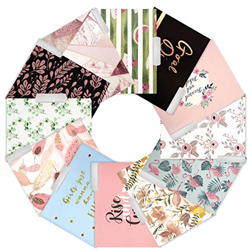 DHH Decorative File Folders Letter Size -12 Count Colored File Folders with Pocket-Cute File Folders- Floral, Marble, Rose Gold Foil, Inspirational