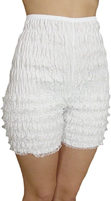 Malco Modes Womens Ruffle Panties Bloomers Dance Bloomers Sissy Victorian (White, Medium)