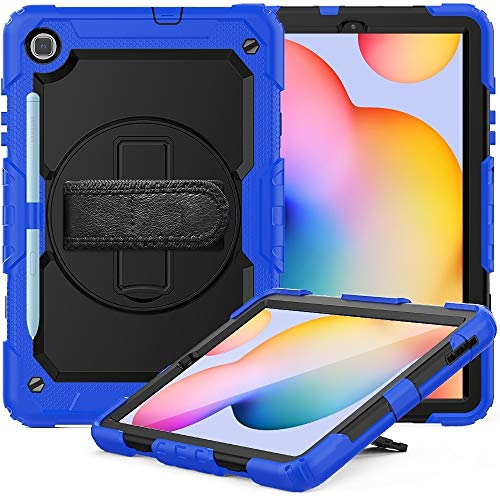 HH-Tablet Case,For Samsung Galaxy Tab S6 Lite P610 Shockproof Colorful Silicone + PC Protective Case with Holder & Shoulder Strap & Hand Strap & Pen Slot hangma (Color : Blue)