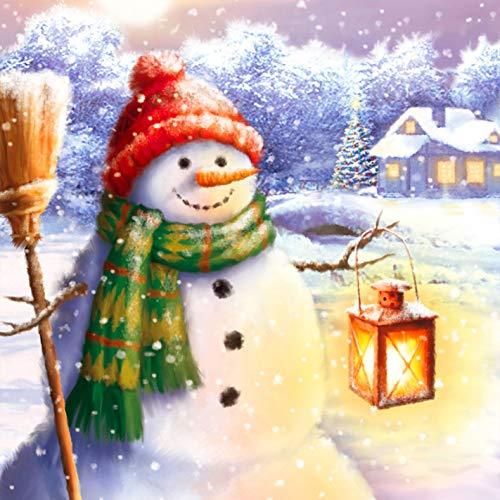 Reofrey 5D DIY Diamond Painting Zubehör Diamantmalerei Laternen schneemann Snowman, Erwachsene Bohren Voll Stickerei Strass Diamant Malerei Set Weihnachten Christmas Wanddekoration 30x40cm