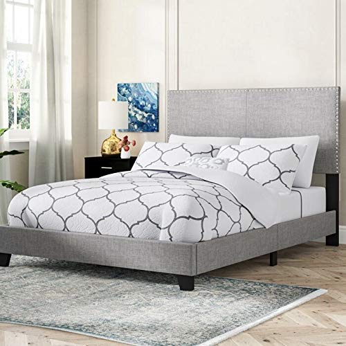 Bed Frame Queen Size Very Stable Queen Bed Frame with HEADBOARD Bed Frame Queen (Queen, Grey)