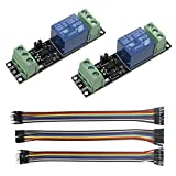 KeeYees 2pcs 1 Channel 3V High Level Trigger Relay Switch Control Module with Optocoupler Optical Isolation for ESP8266 Development Board + 3pcs 20CM 10Pin Female Male Jumper Wires