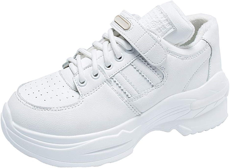 Gedigits Fashion Students Winter Plush Comfortable Soft Hook-Loop Leisure Footwears Ladies Wedges Espadrilles Silver Sneakers Beige 5 M US