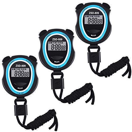 3 Pezzi Cronometro Digitale, Elettronici Cronometri da Sport Digitale Sportivo Multifunzione Timer per Sport Fitness Allenatori e Arbitri, Batterie Incluse