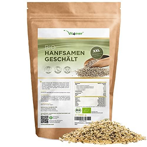 Graines de chanvre biologique décortiquées - 1100 g (1,1 kg) - Premium : Origine Pays-Bas - Source naturelle de protéines - Riche en acides gras oméga-3 - 100% graines de chanvre - Vegan