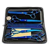 4 Pezzi Set Forbici Gatti Cane Pet Grooming 7.0' Kit Pettine Professionale del Salone del Barbiere Parrucchiere Cesoie Strumento per Taglio di Capelli Hair Styling