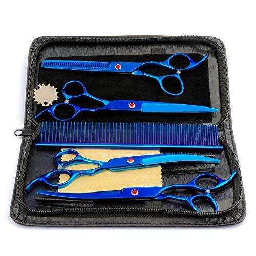 MINLIDAY Tijeras de Perro, 7 Pulgadas de Acero Inoxidable tijera para mascotas, Kit de Peluquería Canina Calidad Premium para Perros y Gatos Con la Caja, 5 herramientas para cortar el pelo a mascotas