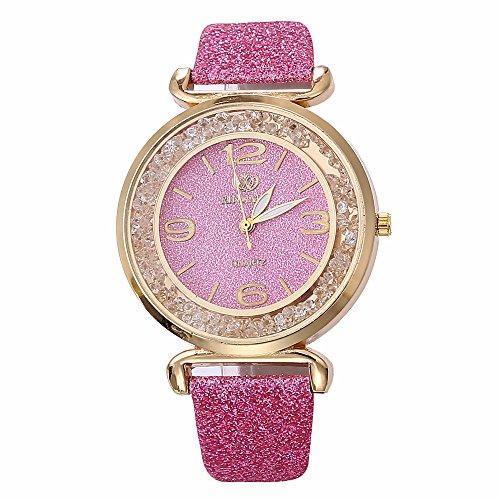 TOWAKM - Reloj de Pulsera analógico para Mujer, Cristal de Acero Inoxidable, Cuarzo Rosa Talla única
