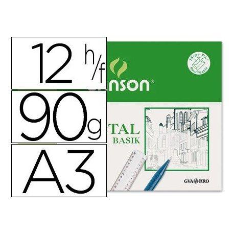 Canson Vegetal Basik, Minipack A3, 12 Hojas, 95g