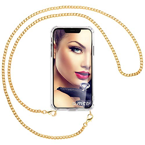 mtb more energy® Collar Smartphone para Xiaomi Redmi Note 6 Pro (6.26'') - Cadena de Metal (Oro) - Funda Protectora ponible - Carcasa Anti Shock