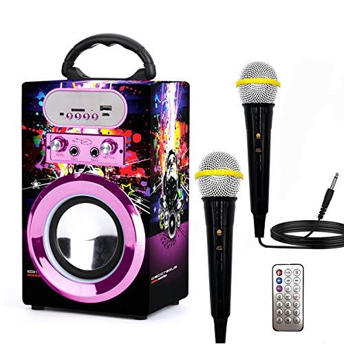 IndeCool Kids Bluetooth Karaoke Machine with 2 Microphones, Remote Control Wireless Karaoke Speaker Portable Karaoke Machine Music MP3 Player for Kids Adult Party Gift (Purple)