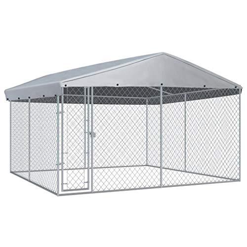 vidaXL Canile da Esterno con Tetto Box da Giardino Recinzione per Cani Gabbia Protezione Recinto Sicurezza Animali 382x382x225 cm Argento in Acciaio