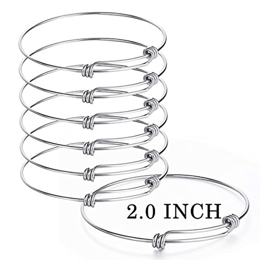 Sromay 8 Pieces Wire Blank Bracelet Stainless Steel Expandable Charm Bangle Bracelet for DIY Jewelry Making, 2 Inch