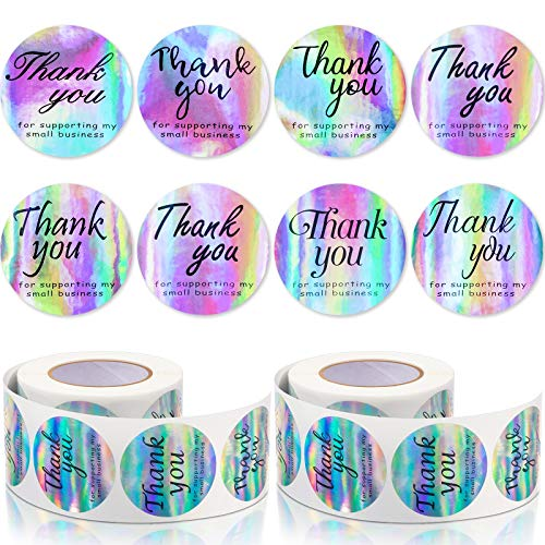 1000 Pieces 1.5 Inch Thank You for Supporting My Small Business Sticker Adhesive Round Shape Holographic Sticker Rainbow Holo Label Sticker 8 Styles for Wrapping Business Boutique Shop