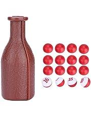 Dados de Billar Snooker Kelly Pool Botella de Coctelera de Billar de Snooker Pool con 16 Bolas Numeradas Tally Guisantes Accesorio de Billar,Marrón