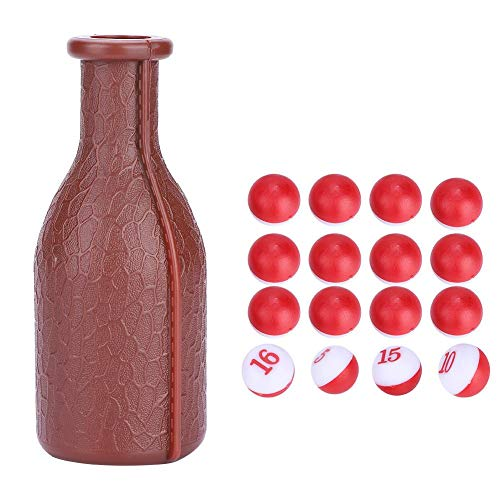 Dados de Billar Snooker Kelly Pool Botella de Coctelera de Billar de Snooker Pool con 16 Bolas Numeradas Tally Guisantes Accesorio de Billar,Marrón
