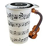Music Coffee Mug With Lid And Violin Handle 13.5 Ounce, Water Tea Drinks Cup , Gift For Music...