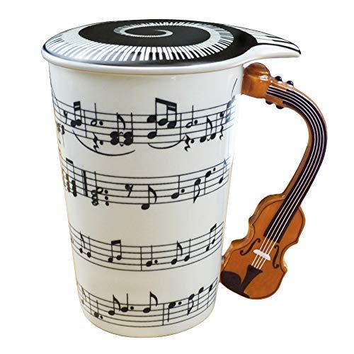 Amazon Brand - Umi 400ml Trinkbecher Tasse Keramik 3D-Griff in Form Einer Geige Musik Noten Kaffee Tee Mug mit Deckel Geschenk
