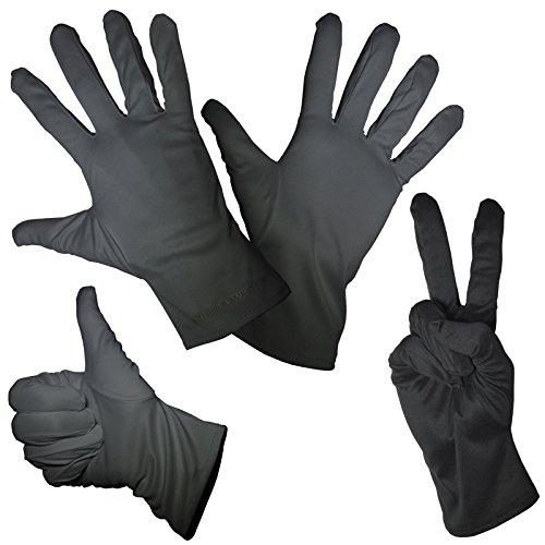 SJ3D 1 Paar feine Mikorfaser Handschuhe Schwarz in 4 Größen zum Reinigen Putzen Verkleiden Karneval Fasching Halloween Weihnachten Handschuh für Pantomime Weihnachtsmann Nikolaus Kostüm gut geeignet
