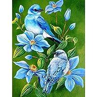 ダイヤモンド絵画、フルドリルダイヤモンド絵画青い花クロスステッチダイヤモンド刺繡鳥のパターンラインストーンモザイク風景家の装飾40x50cm