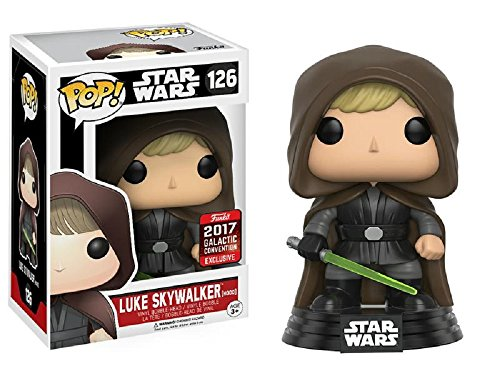 Funko 11310–Figura de Star Wars Pop Vinyl 126Luke Skywalker (con Capucha)–Convención...
