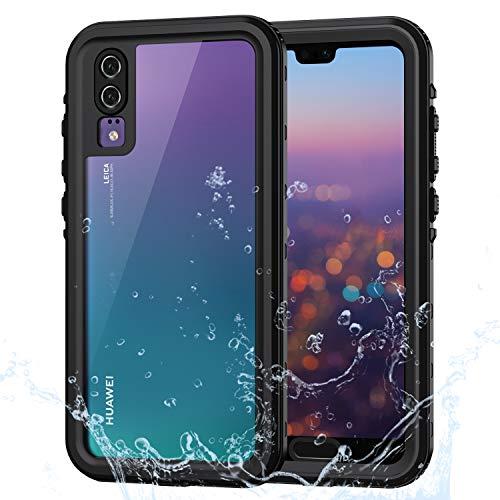 Lanhiem für Huawei P20 Hülle, IP68 Wasserdicht Handyhülle Huawei P20 360 Grad Schutzhülle, Stoßfest Staubdicht und Schneefest Outdoor Panzerhülle mit Eingebautem Displayschutz, Schwarz