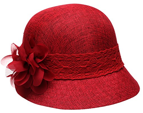 EPOCH Women's Gatsby Linen Cloche Hat with Lace Band and Flower, Red, One Size