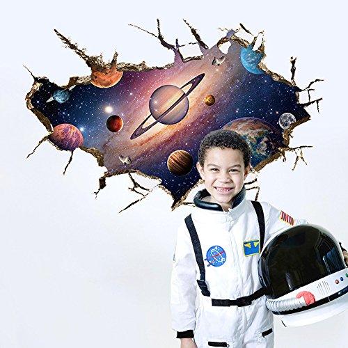 Wallpark Beau Galaxie 3D Espace Univers Terre Planètes Amovible Stickers Muraux Autocollants, Enfants Bébé Chambre Pépinière DIY Décoratif Adhésif Stickers Mural