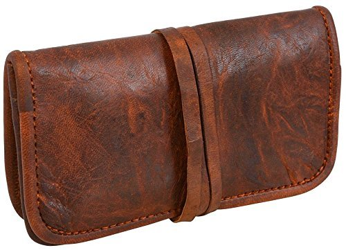 Leatheristic Genuine Leather Tobacco Smooking Pipe Bags Stash Case Medicine Lock Bag Make-Up Wrap Case Stationery Pouch Battery Headphone Holder Travel Storage Container Vintage Brown for Men & Women
