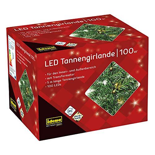 Idena 31814 - LED Tannengirlande mit 100 LED warmweiß, mit 8 Stunden Timer Funktion und Transformator, ca. 10 m lang, als Dekoration zur Adventszeit und zu Weihnachten