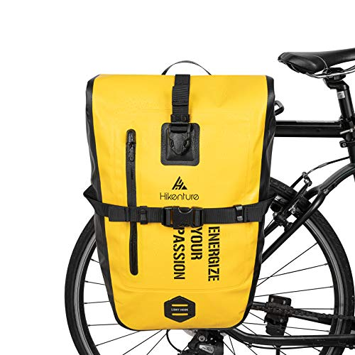 Hikenture Bike Panniers Rear Rack Waterproof 27L Bicycle Saddle Bags Commuter Backpack Laptop Pannier Trunk Side Storage Cycling Pack Cargo Luggage Carrier Bike Accessories(Yellow)
