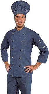 Jeans Tessuto 220 gr//m/² 100/% Cotone L Bottoni a pressione Isacco Giacca Cuoco Classica Jeans Manica Lunga