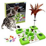 Cat Puzzle Feeder Treat Maze Toy, Slow Feeder Cat Bowl, Non Slip Interactive Puzzle Cat Toy for Entertainment Activities, 3 Level Challenges for Indoor Cats Improve Intelligence (A - Green)