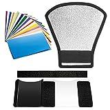 flash sunpak pz40x SONO INCLUSI NEL KIT: (1) Diffusore Riflettore Argento/Bianco, (1) Set 12 Filtri Colorati con Elastico e nastro di fissaggio. ATTENZIONE: lo speedlite NON è incluso! L'unico riflettore adotta 2 lati.