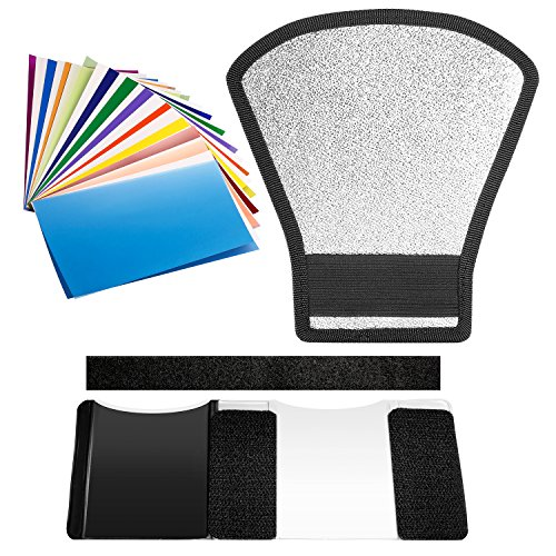 Neewer Flash Speedlite Diffuser and Filter Kit - Silver/White Reflector and 12 Pieces Color Filter for Canon Nikon Pentax Godox Sony Sigma Nissin Sunpak Speedlite