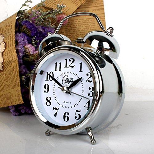 Luxuryclock Creative Super Big Bell slaapkamer nachtkastje studentenwekker nachtzicht wekker huishouden hard horloge van metaal Cambas 2625 Silver