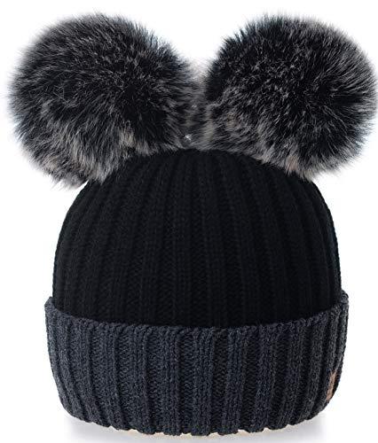 4sold Rita Kinder Wurm Winter Style Beanie Strickmütze Mütze mit Fellbommel Bommelmütze HAT SKI Snowboard (Miki Black Grey)