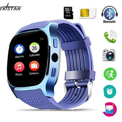 Smartwatch, TKSTAR Smartwatch Android Bluetooth Smart Watch Unterstützung SIM TF Karte Smart Uhr Telefonanrufe Antwortende & dial-up Smartwatch Telefon Remote Kamera Armbanduhr (Blau)