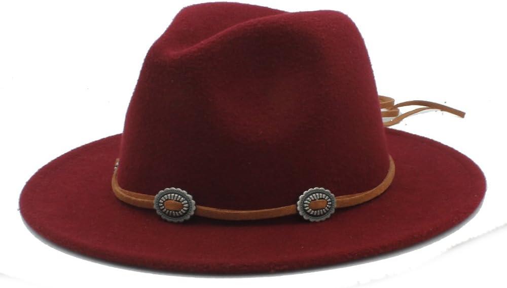 GR Panama Fedora Hat with Suede Women Men (Color : 1, Size : 57-58m)