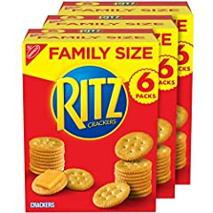 Pack of 3 family size boxes with a total of 18 sleeves of RITZ Original Crackers Flaky and delicious snack crackers with a rich, buttery flavor Perfect crackers for snacking, appetizers or quick meals Pairs with almost any topping, from meat and chee...