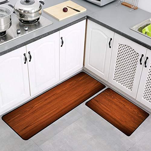 WIVION Holzmaserung Rutschfester Teppich Bodenmatte Innenbereich Teppich/Matte Gummi-Fußmatten-Set Handgefertigt Aus Baumwolle, Einzigartig Für Schlafzimmer, Küchenteppich,D,140x200cm(55x79inch)