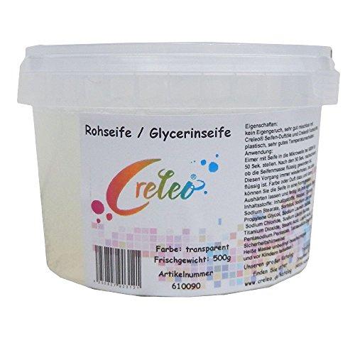 Creleo Glycerinseife - Rohseife transparent 1kg (2x500g) im Eimer für die Mikrowelle oder Wasserbad